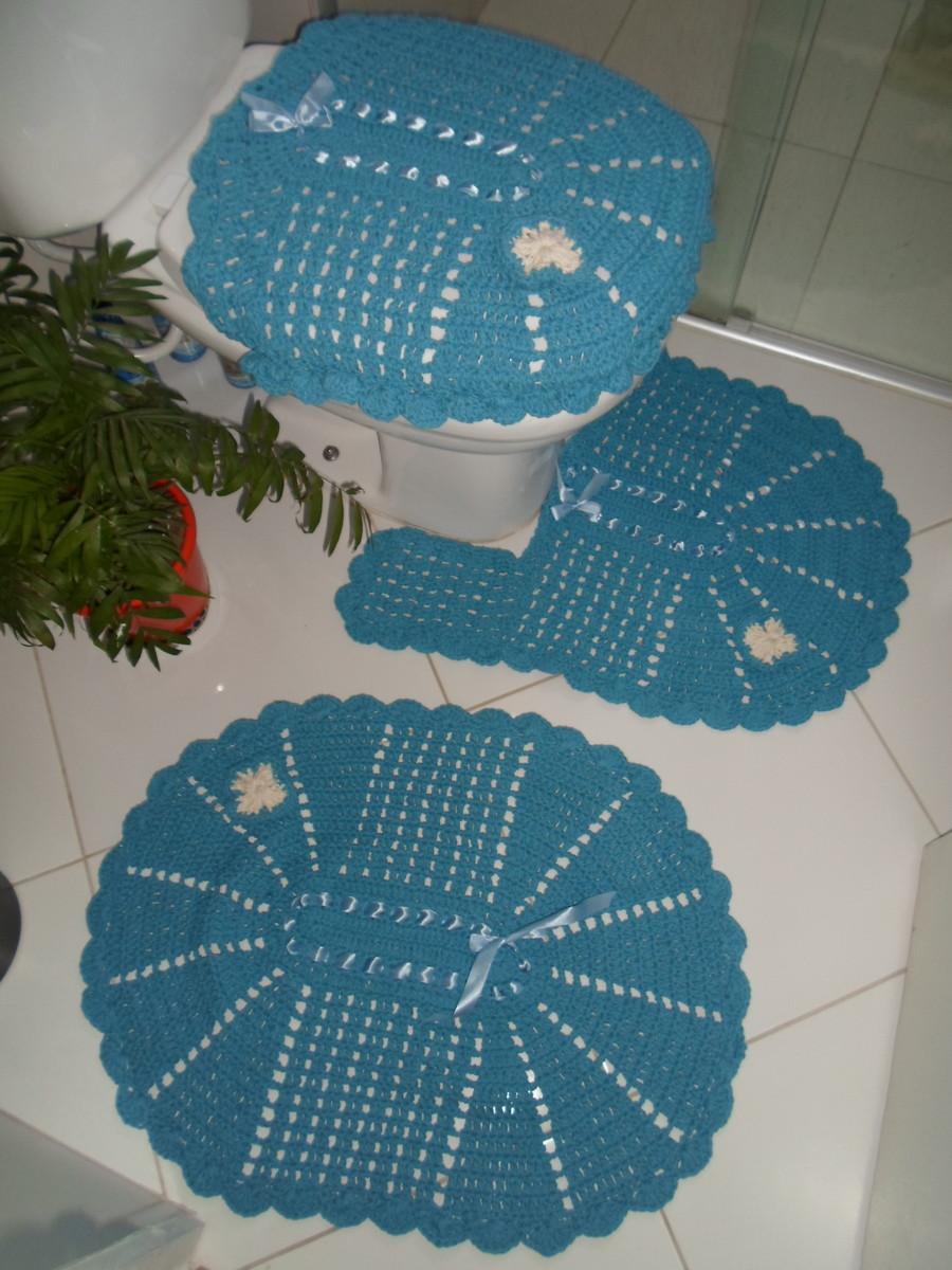 Kit Para Banheiro Artesanato ~ Jogo de banheiro de barbante em croche no Elo7 Artes da Vida 2 Artesanatos (474384)