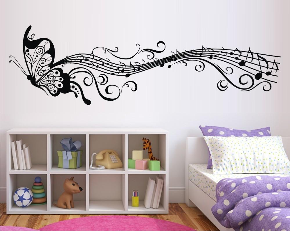 Adesivo De Parede Borboleta Musical Vetor E Imagem Elo7 ~ Desenhos Para Fazer Na Parede Do Quarto Feminino