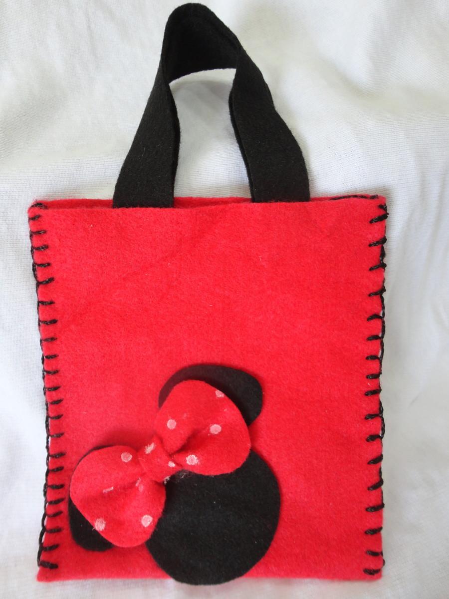 Bolsa De Festa De Feltro : Sacola em feltro minnie vermelha ou rosa cris artes