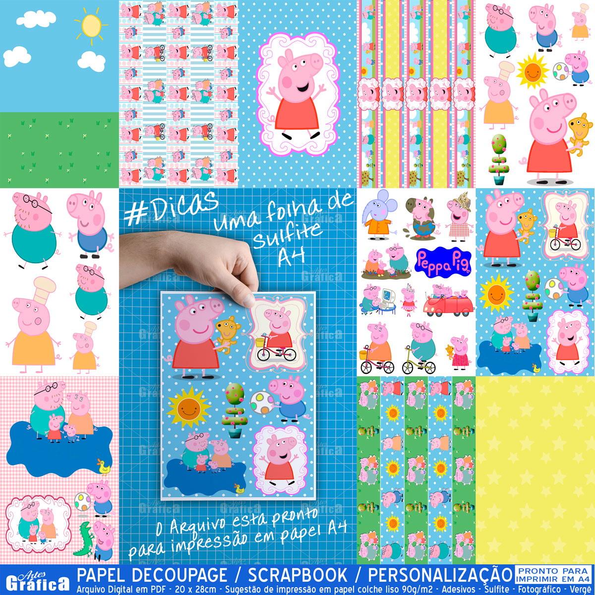 Peppa pig kit pronto para imprimir 036 kit festa - Papel decoupage infantil ...