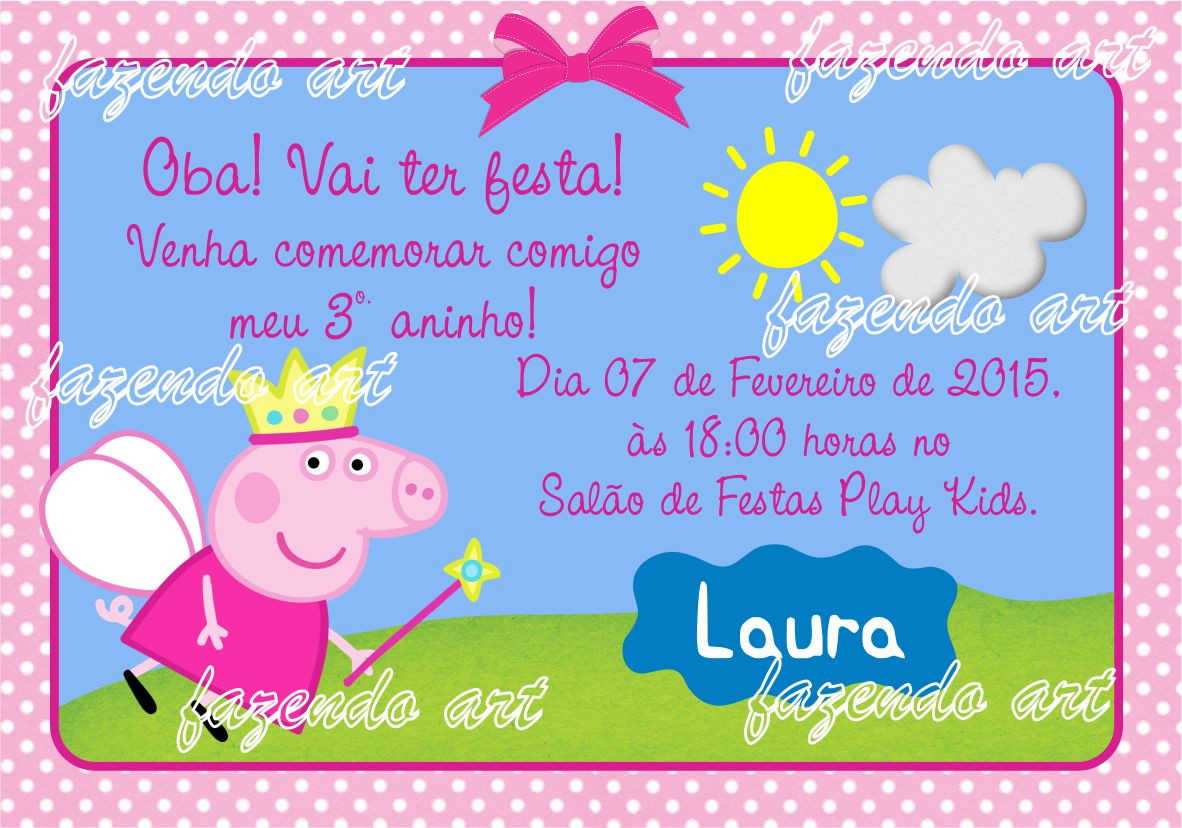Zoom · Arte Digital Convite Peppa Pig Fada