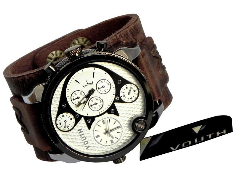 c0a552afaf1 Relógio Bracelete Em Couro Masculino no Elo7