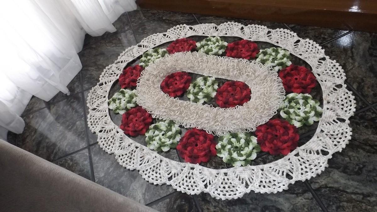 Qual O Correto Artesanato Ou Artesanato ~ Tapete em croch u00ea flores de jardim Artesanatos em Geral Vanda Elo7