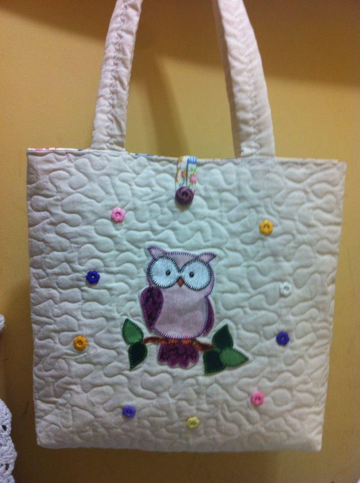 Bolsa De Tecido Decorada Com Coruja : Bolsa em patchwork aplica??o de coruja silvy
