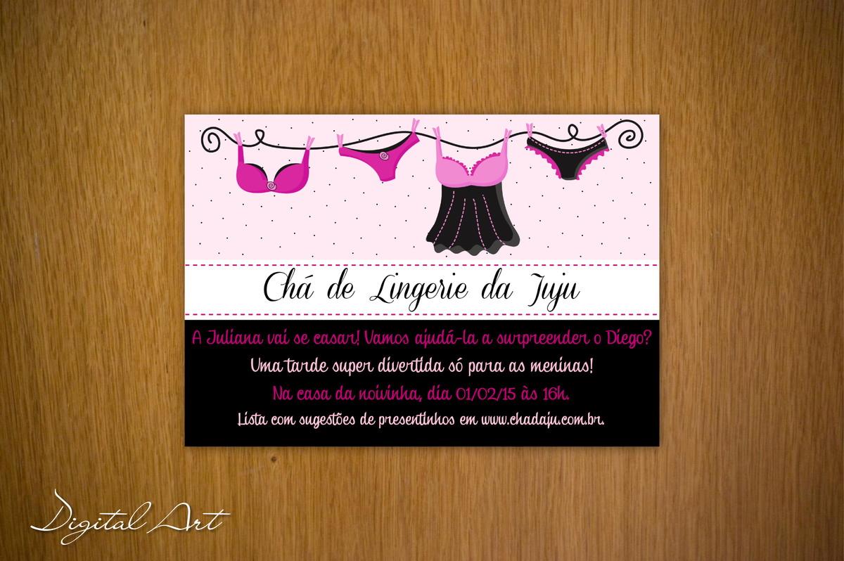 fd53337b0 Convite Chá de Lingerie Rosa e Preto no Elo7