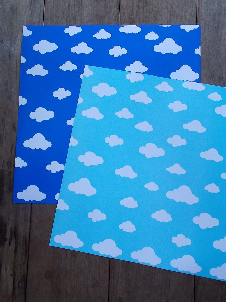 Papel Scrapbook Nuvens Ceu Azul Claro No Elo7 Graciana Baretta