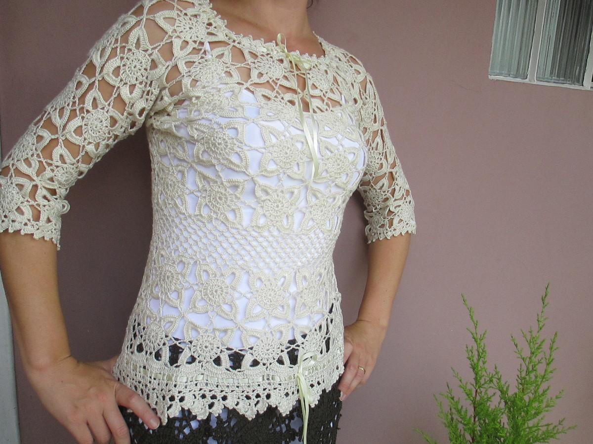 blusa de crochê Pérola no Elo7  17f98896f22