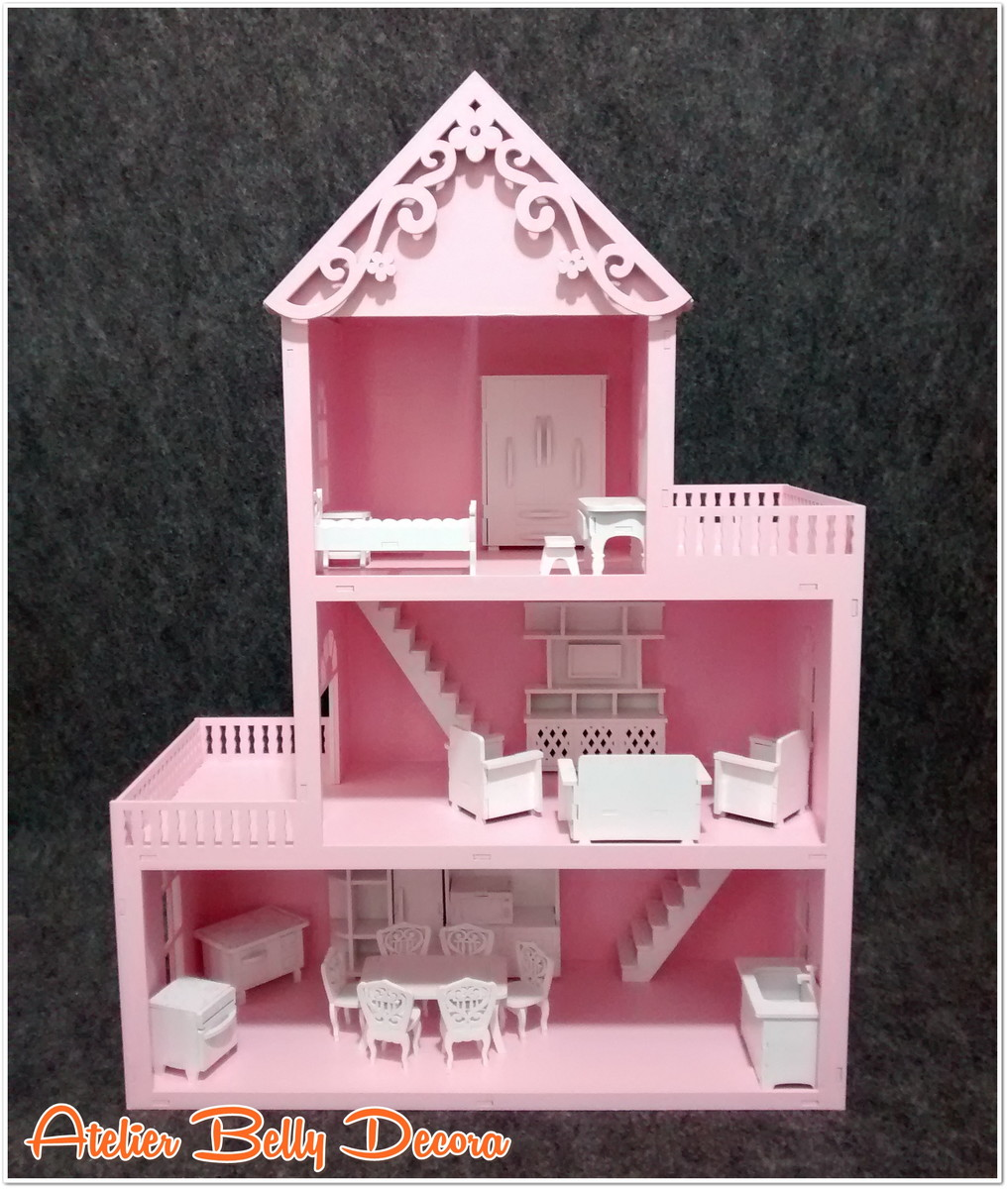 Casa boneca mdf pintado brinquedo m veis no elo7 a b for Mobilia woonstudio utrechtsestraat 62 64