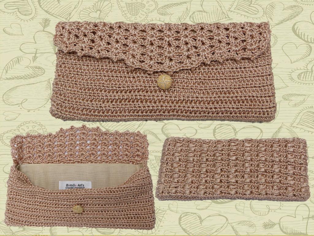 Bolsa De Mão Em Crochet : Carteira de m?o em croch? rom?o arts elo