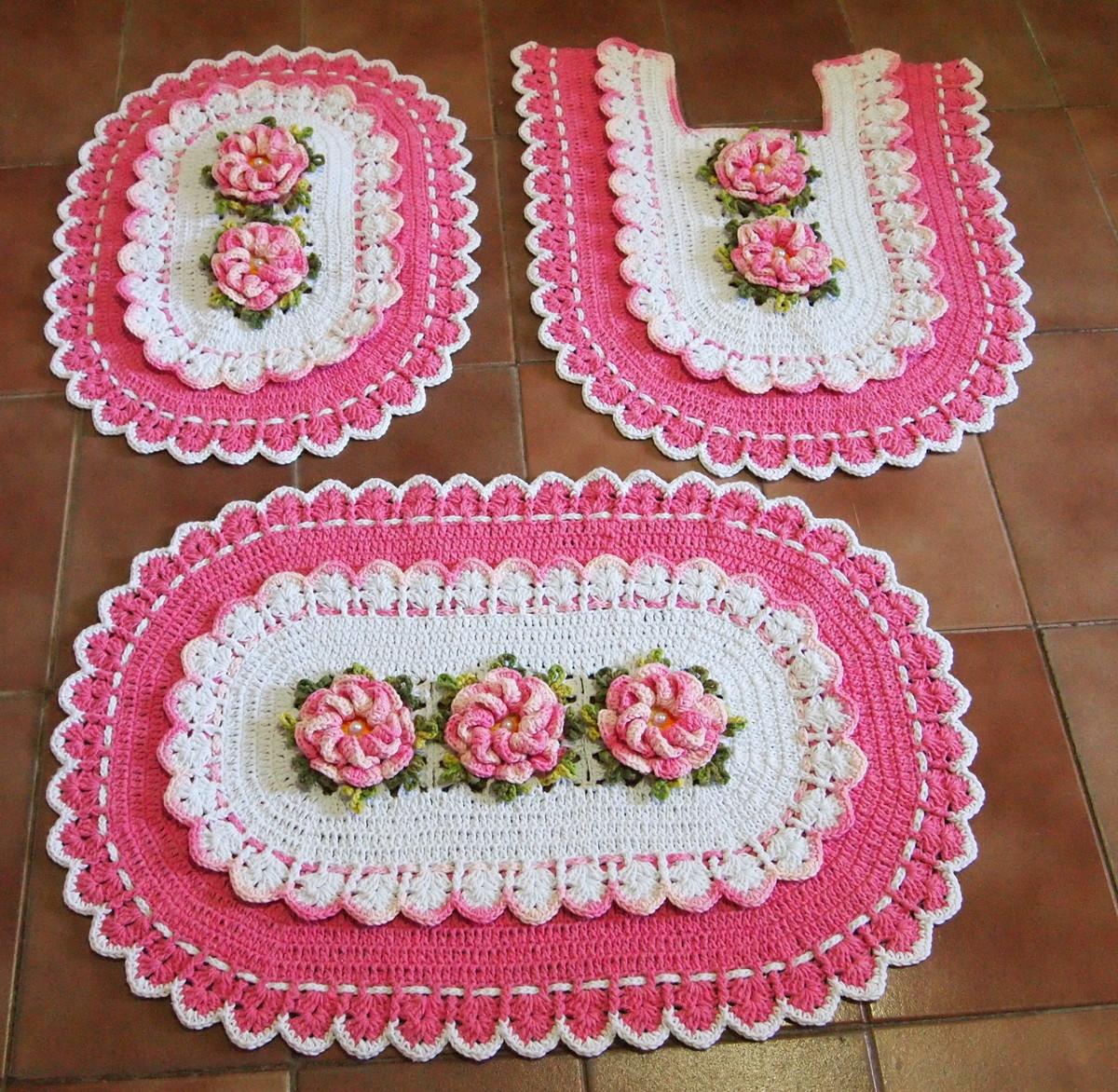 Jogo de banheiro branco rosa bebe no elo7 croches da for Rosa tapete