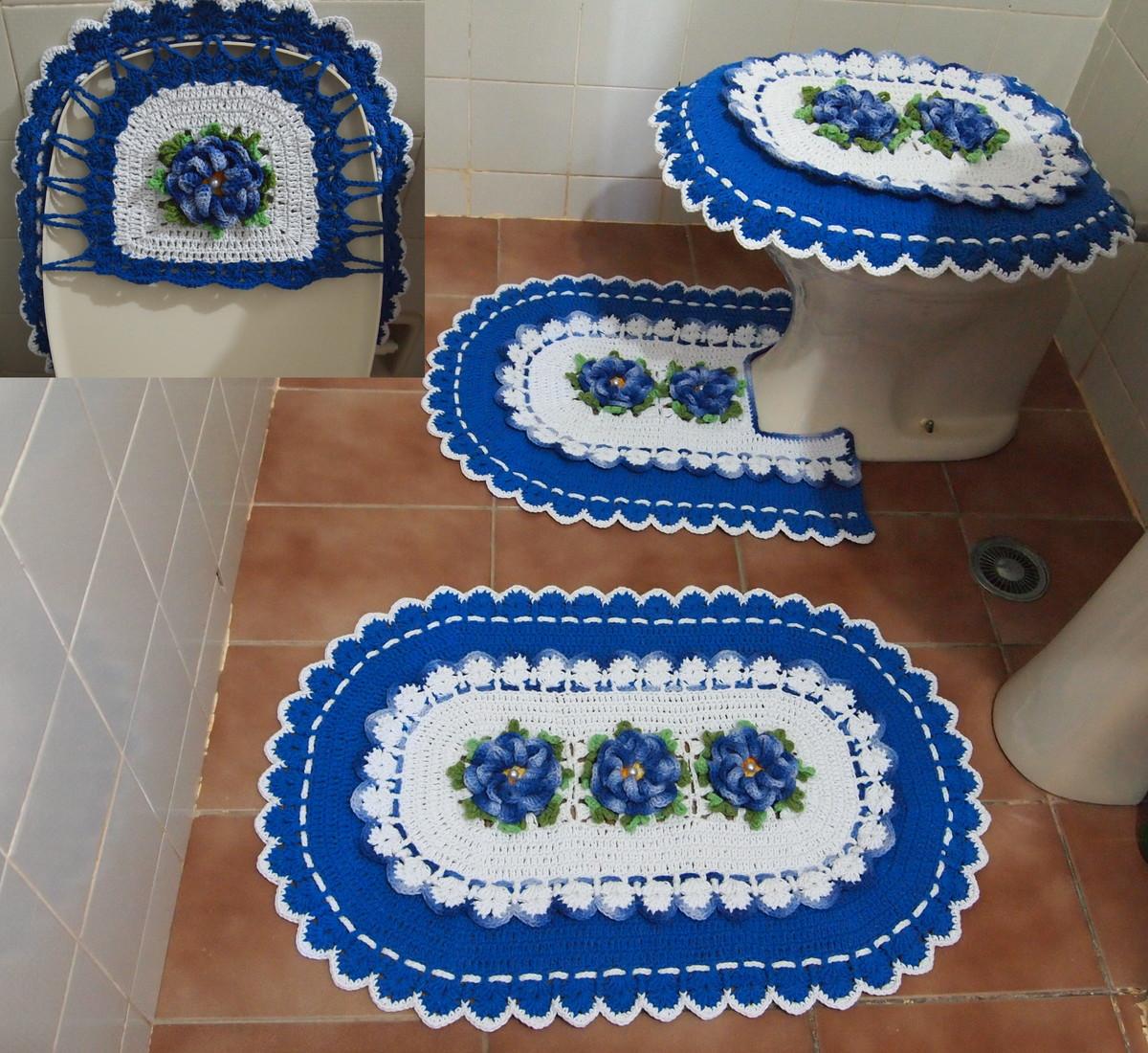 jogo de banheiro branco azul o croches da elsa elo7