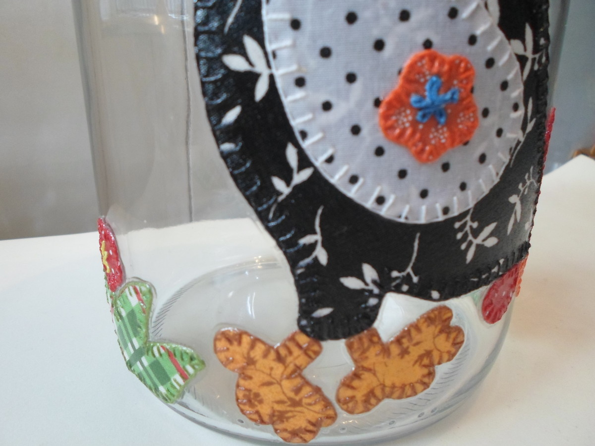 Armario Baño Con Espejo ~ Pote de vidro com decoupage em tecido Artesanatos da Amanda Elo7