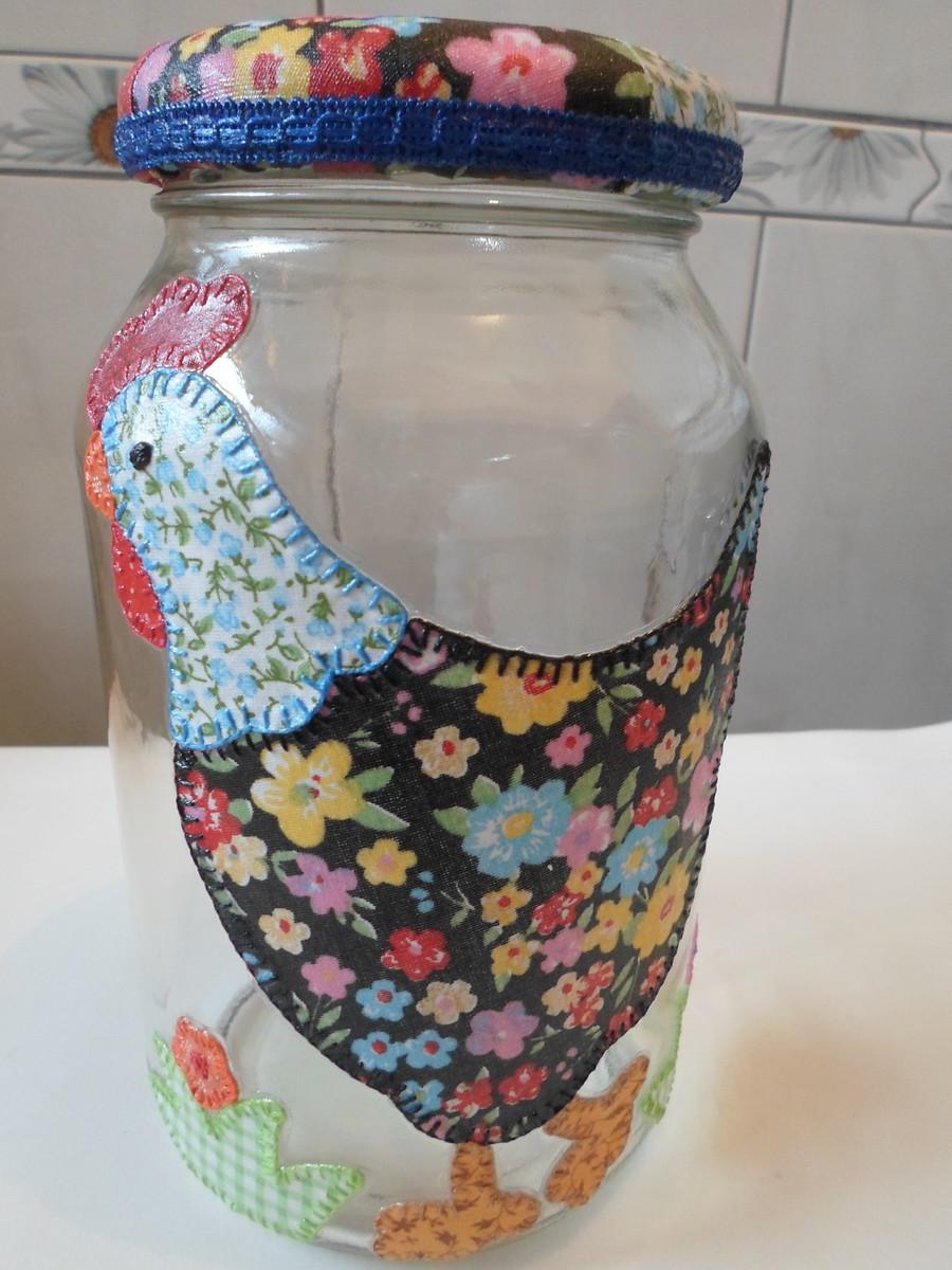 56e0955ac Pote de vidro com decoupage em tecido no Elo7