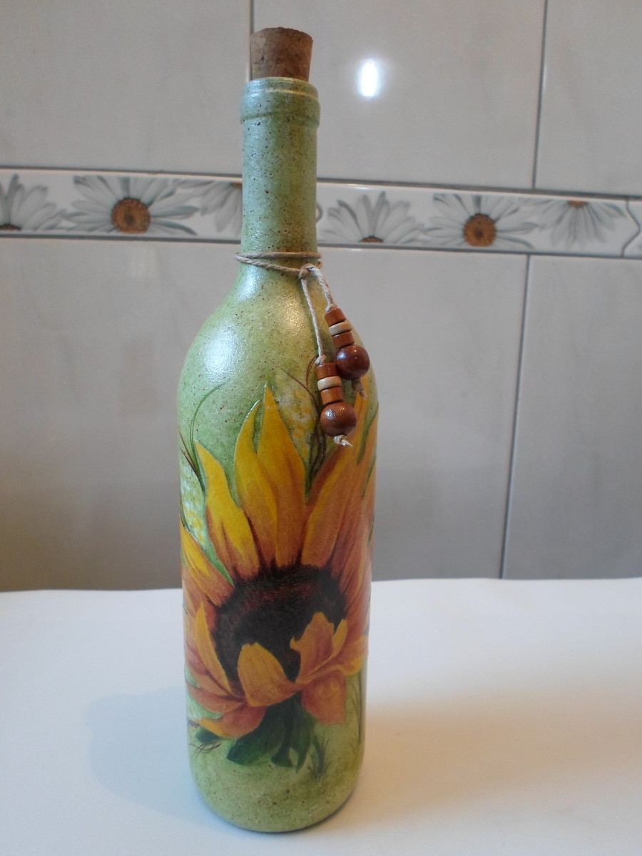 Adesivo De Borboleta Para Geladeira ~ Garrafa decorada girassol Artesanatos da Amanda Elo7