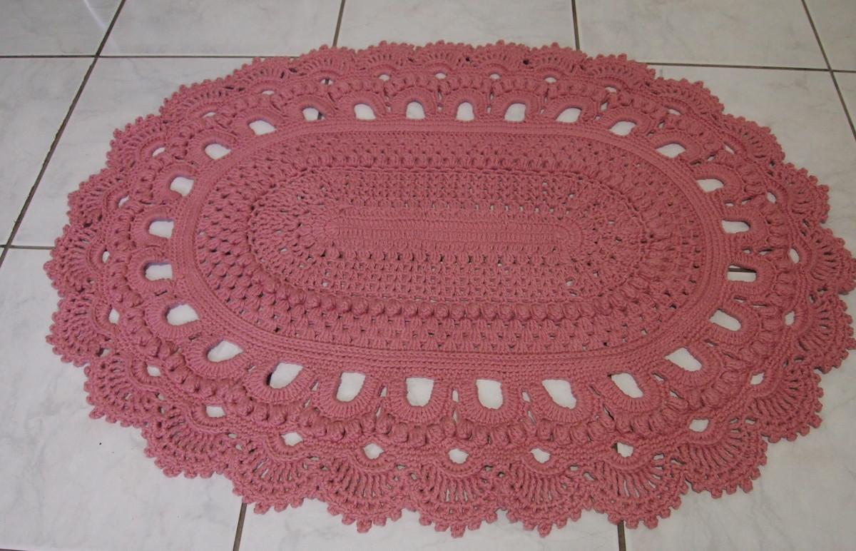 Tapete russo oval rosa 66x90cm croches da elsa elo7 for Rosa tapete