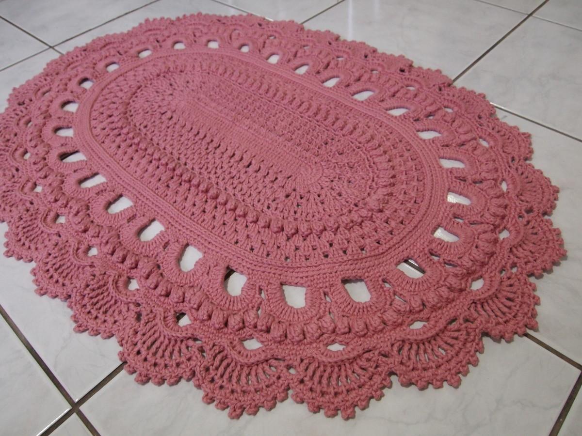 Tapete russo oval rosa 73x95cm croches da elsa elo7 for Rosa tapete