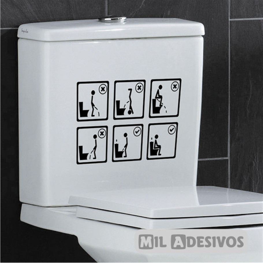 Artesanato Para Cozinha Em Eva ~ Adesivo p banheiro como usar o vaso 5 ANOS DE GARANTIA Elo7