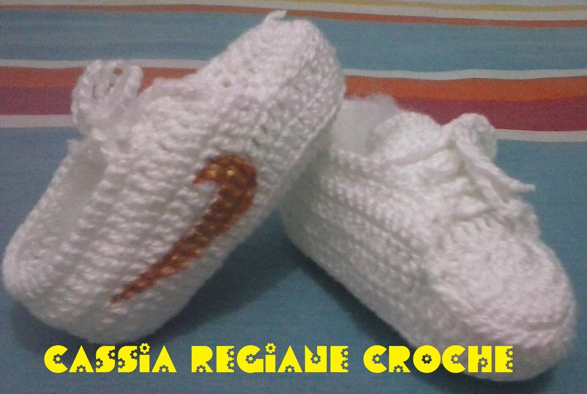 6a7b1cf4c Tênis para bebe Nike de crochê no Elo7