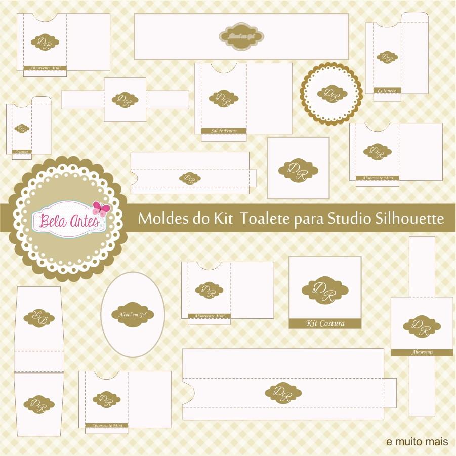 Kit Banheiro Casamento Moldes Dourado : Moldes kit toalete pra studio silhouette bela artes