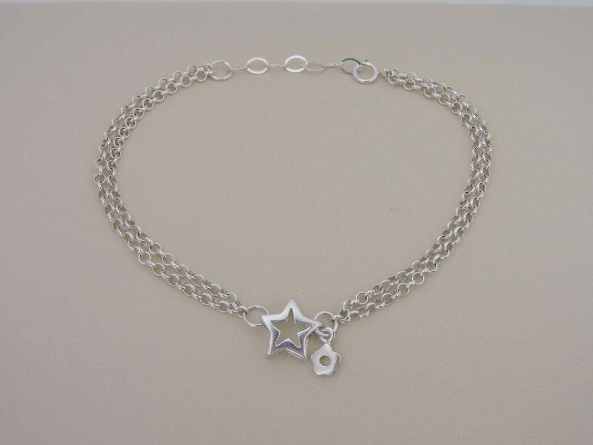 6b8678d4194 Pulseira de prata e estrela feminina no Elo7