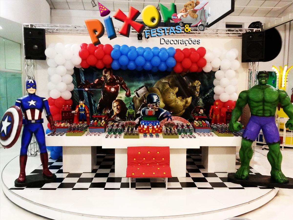 Decoraç u00e3o Vingadores Festa Infantil no Elo7 Decoraç u00e3o de Festas Pixon (51C5EE) -> Decoração De Festa Os Vingadores