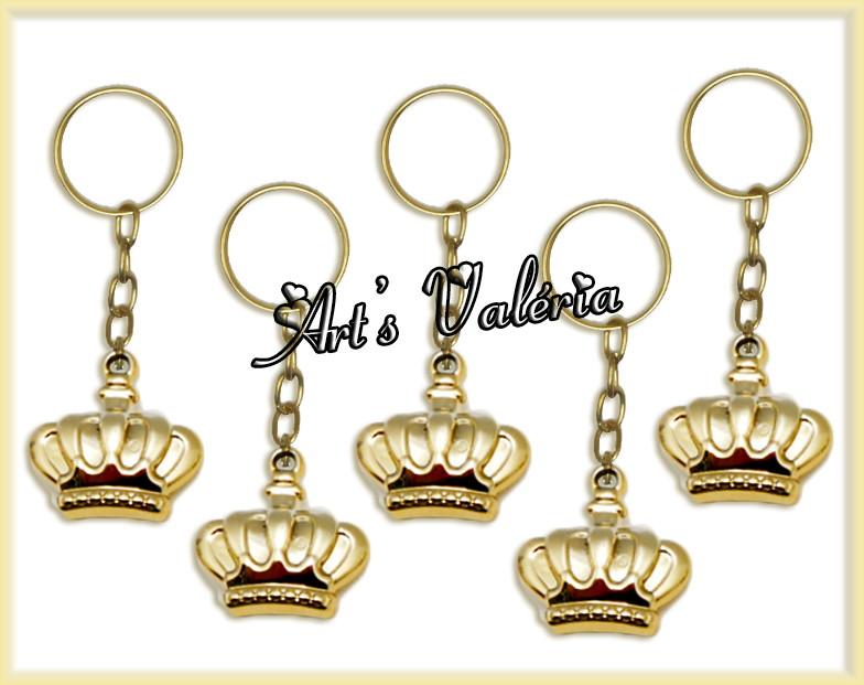 Chaveiro Mini Coroa Real Dourado no Elo7   Arts Valeria ... ee231cee73