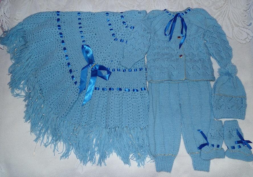 83e57af5f1 Conjunto de bebê em tricô à mão c  manta no Elo7