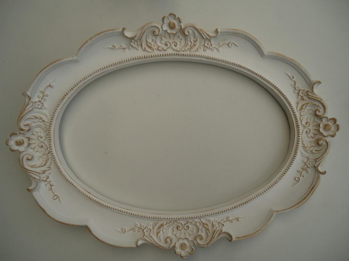Aparador Acrilico Sp ~ Espelho Oval Provençal Branco x Dourado no Elo7 Fuxicando Arte em Tecido (52819F)
