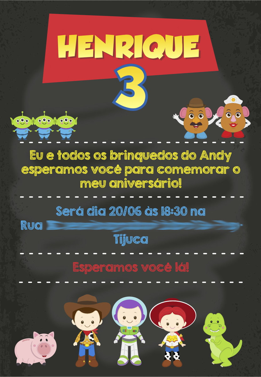 convite toy story chalkboard no elo7