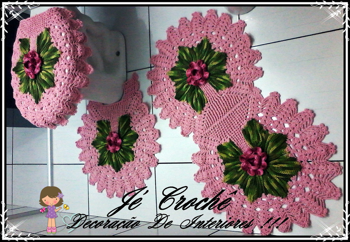 Jogo De Banheiro Classic Rosa Passo A Passo : Jogo de banheiro harmonia pe?as j? croch? decora??o