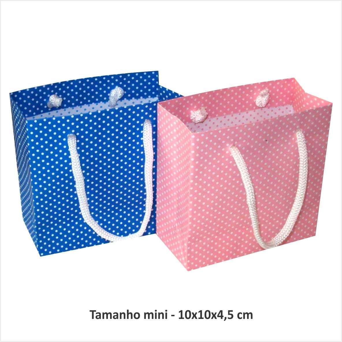 5a54b9836 Sacola azul ou rosa bolinha branca- mini no Elo7 | Artesanal Sacolas ...