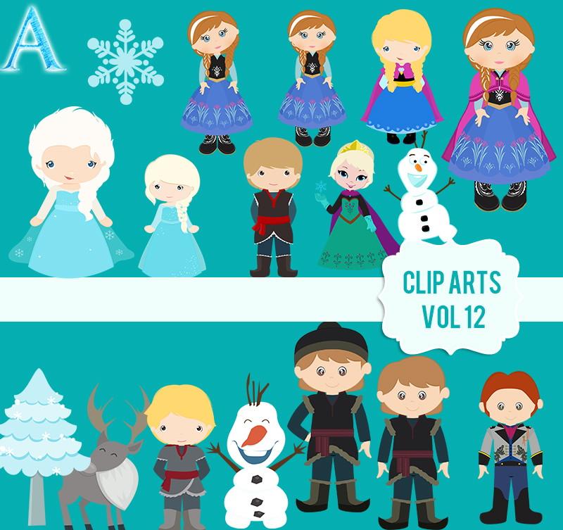 Clipartes Frozen + papéis | Creativstemplates | Elo7