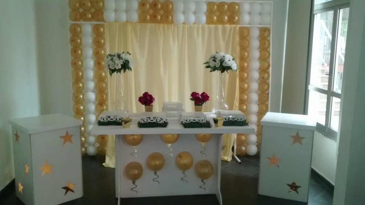 Decoraç u00e3o Batizado no Elo7 Decoraç u00e3o Provençal em Diadema (5424F1) -> Decoracao De Batizado Branco Com Dourado