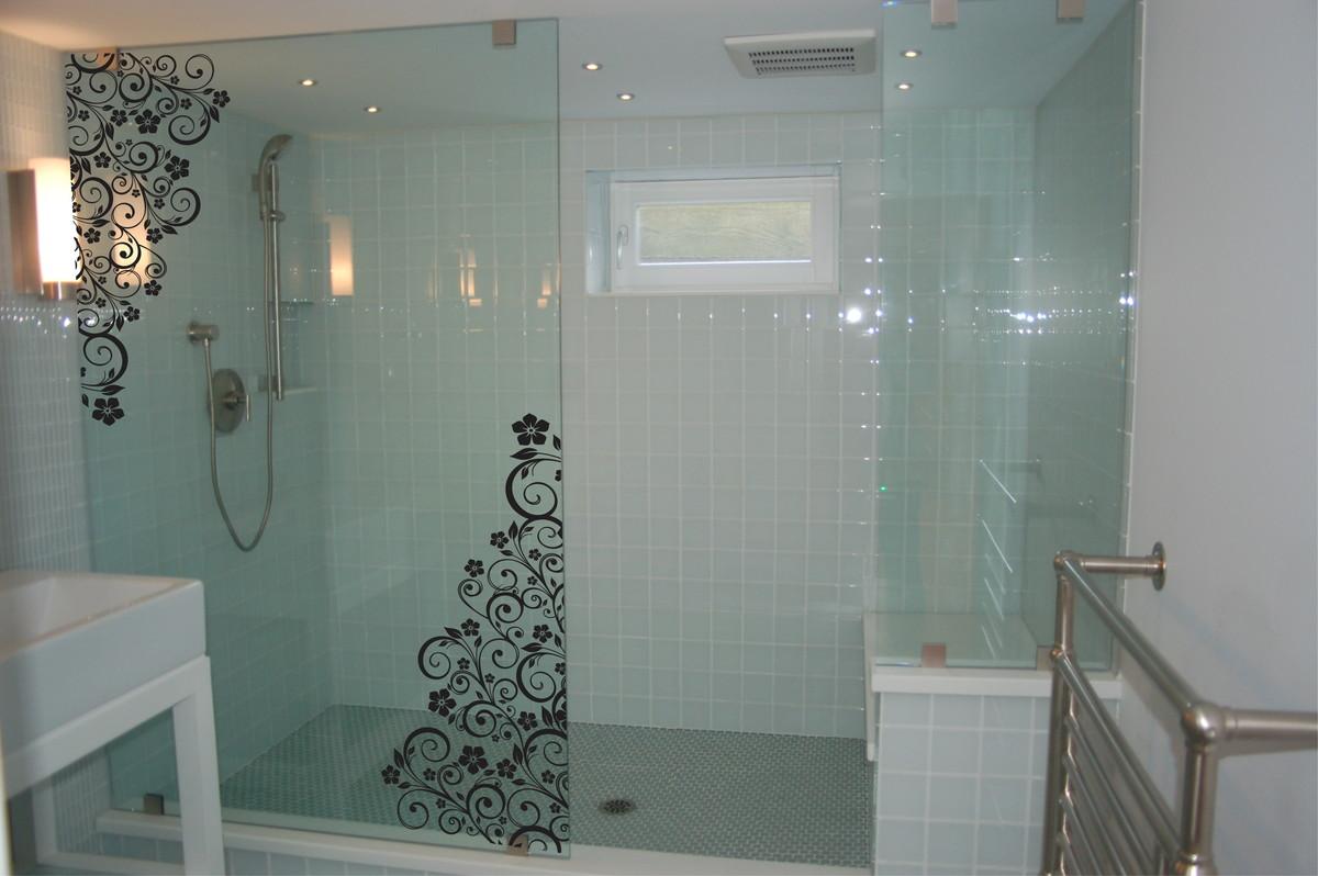 Adesivo Box Banheiro Floral Blindex  Adesivos Sempre Viva  Elo7 -> Decoracao Banheiro Adesivos