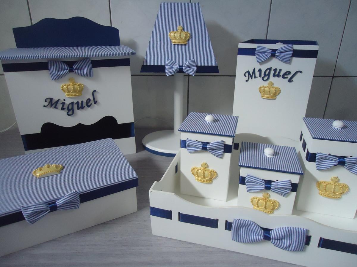 Kit Higiene Príncipe Listrado Azul no Elo7 NOSSO ATELIE ARTE E DECORA u00c7ÃO (507808) -> Como Decorar Kit Higiene Para Bebe Com Perola