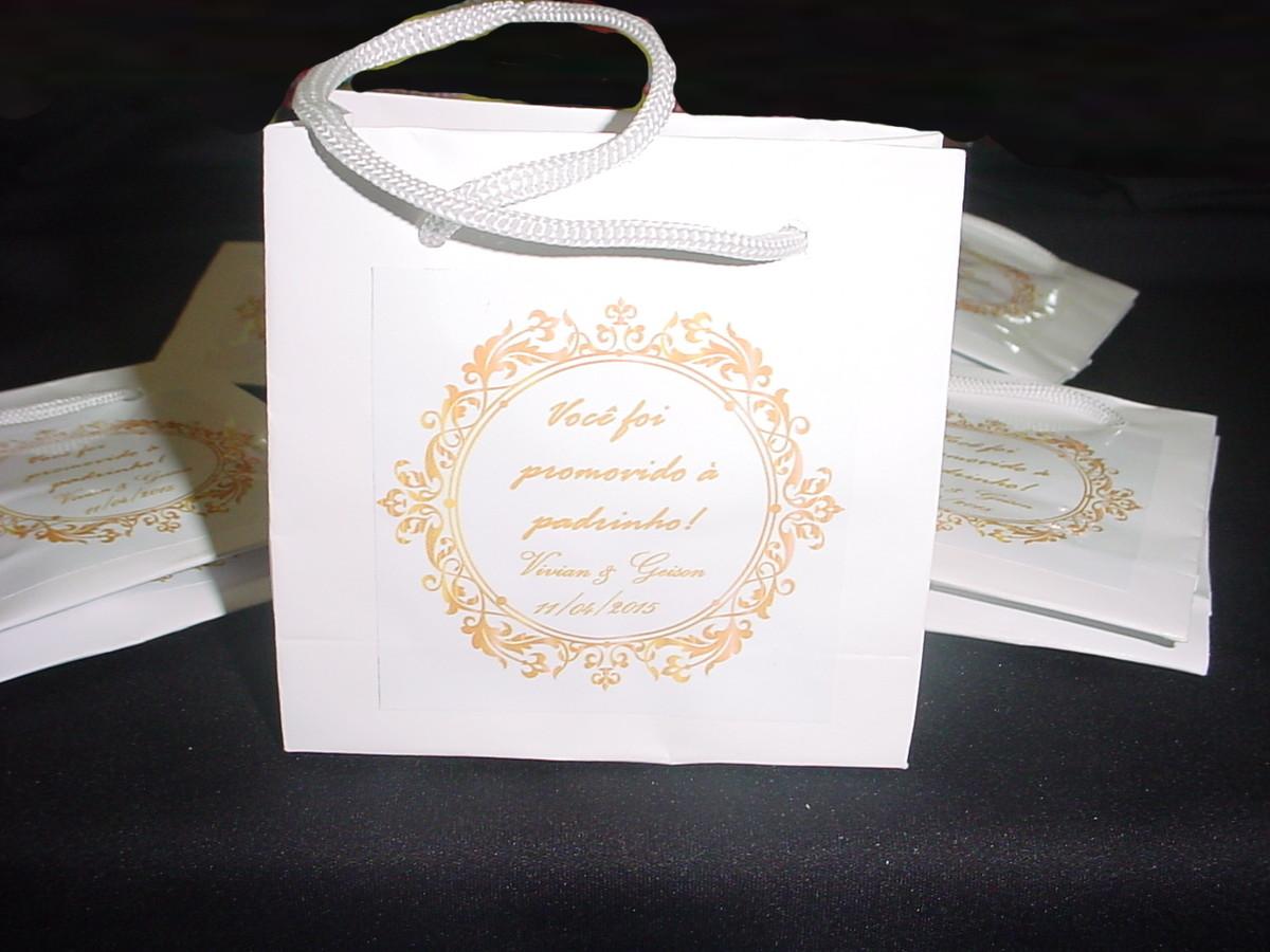 Bolsa De Papel Personalizada Casamento : Mini sacola madrinha e padrinho belle art elo
