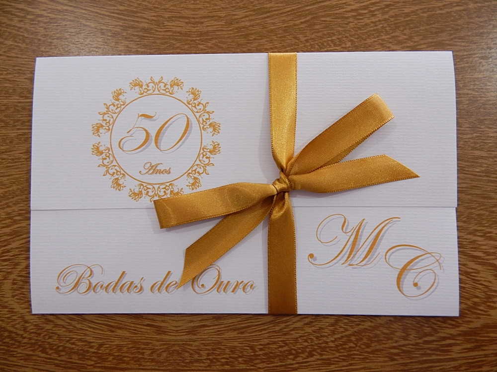 Convite Pérsico Bodas De Ouro Branco No Elo7 Papelac Convites Loja