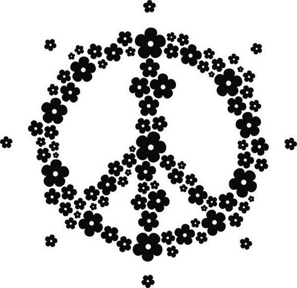 Adesivo Simbolo Paz E Amor De Flores No Elo7 Adesivos De Parede