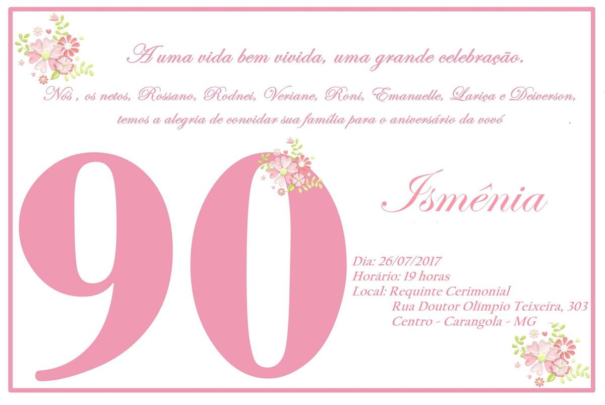 Tag Mensagem Convite De Aniversário 90 Anos