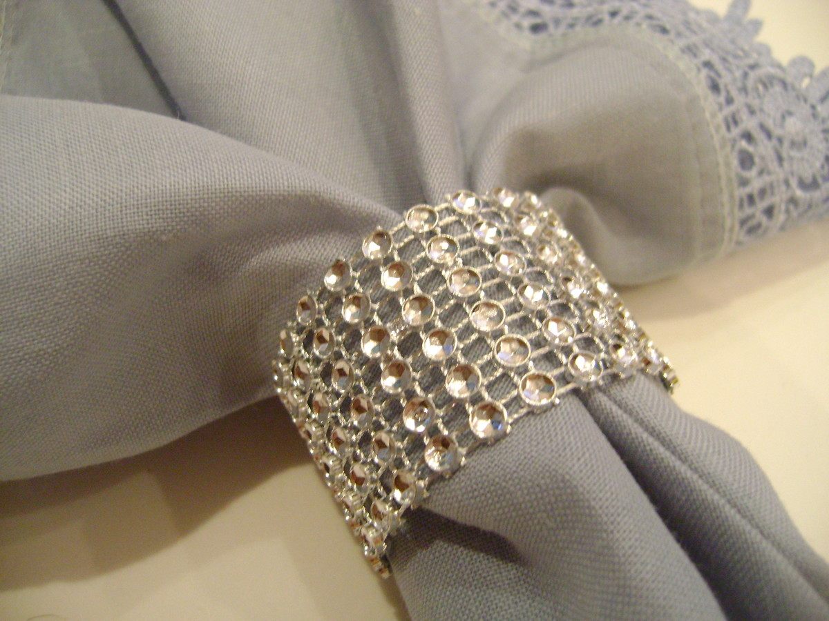 50 porta guardanapo grega strass prata handmade express