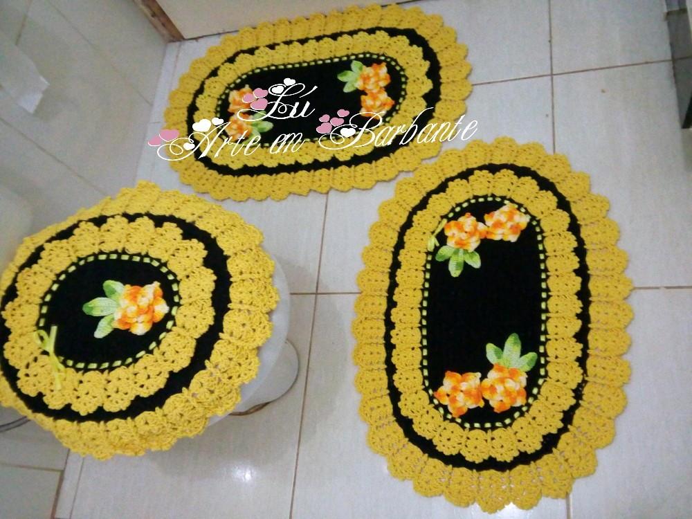 Jogo de banheiro preto e amarelo  Lusinete arte embarbante  Elo7 -> Decoracao De Banheiro Amarelo