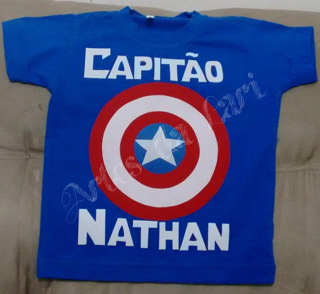 ca40538a7e5e3 Camiseta capitão América no Elo7