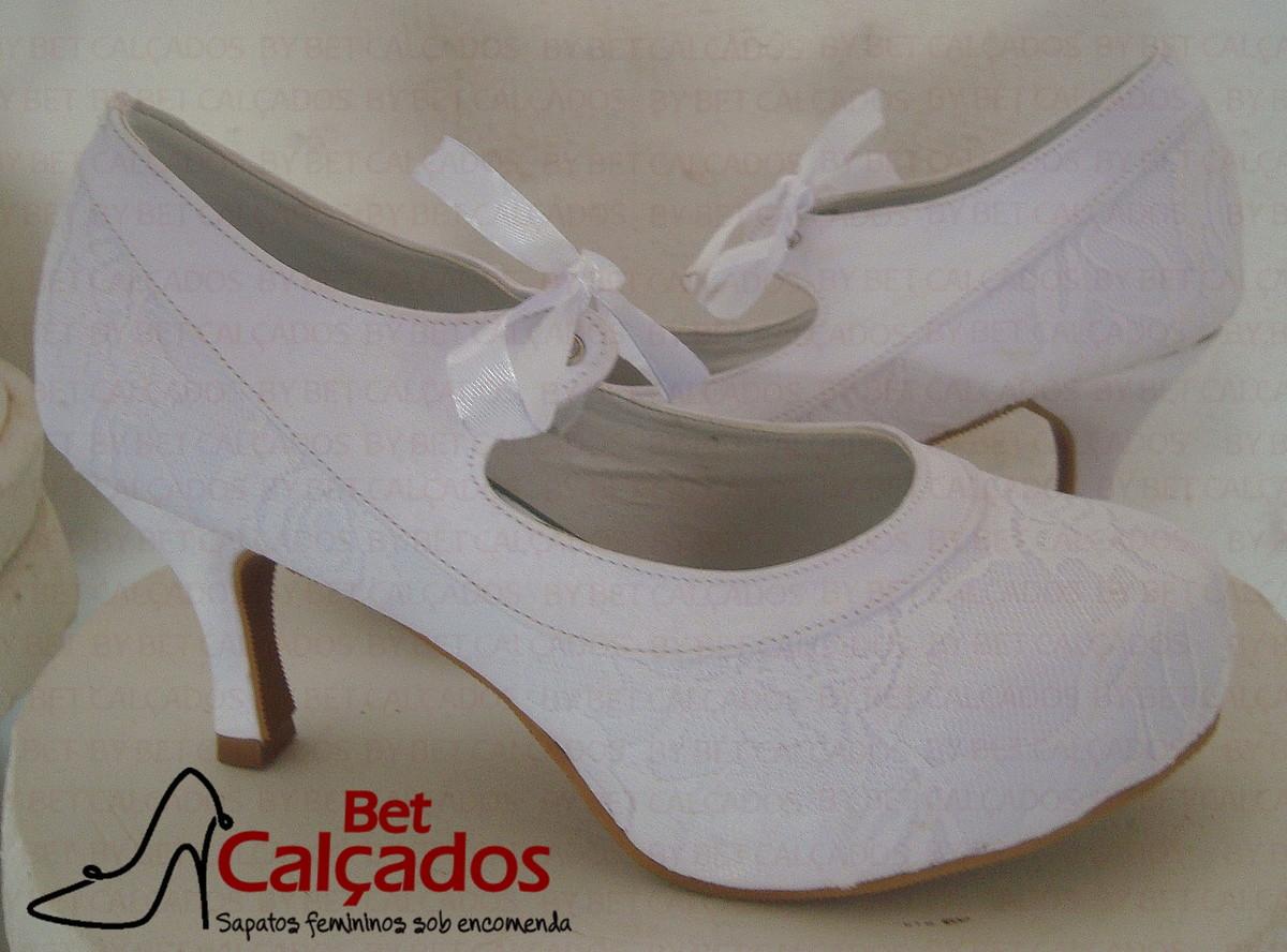 bfde14e843 Sapato Noiva estilo boneca renda no Elo7