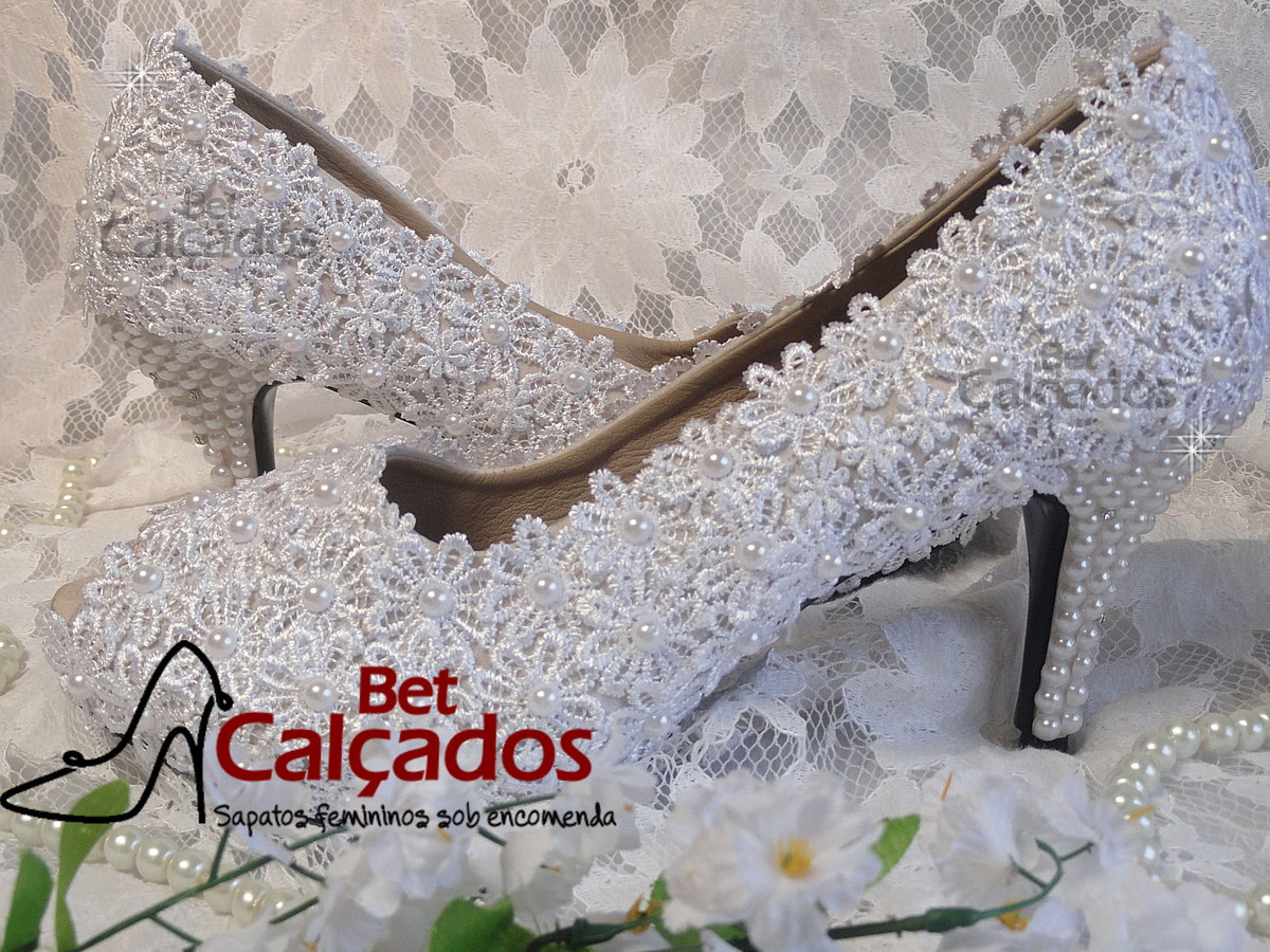 9a5dceb6f Sapato Noiva LUXO pérolas (salto 8cm) no Elo7   Bet Calçados (59381C)