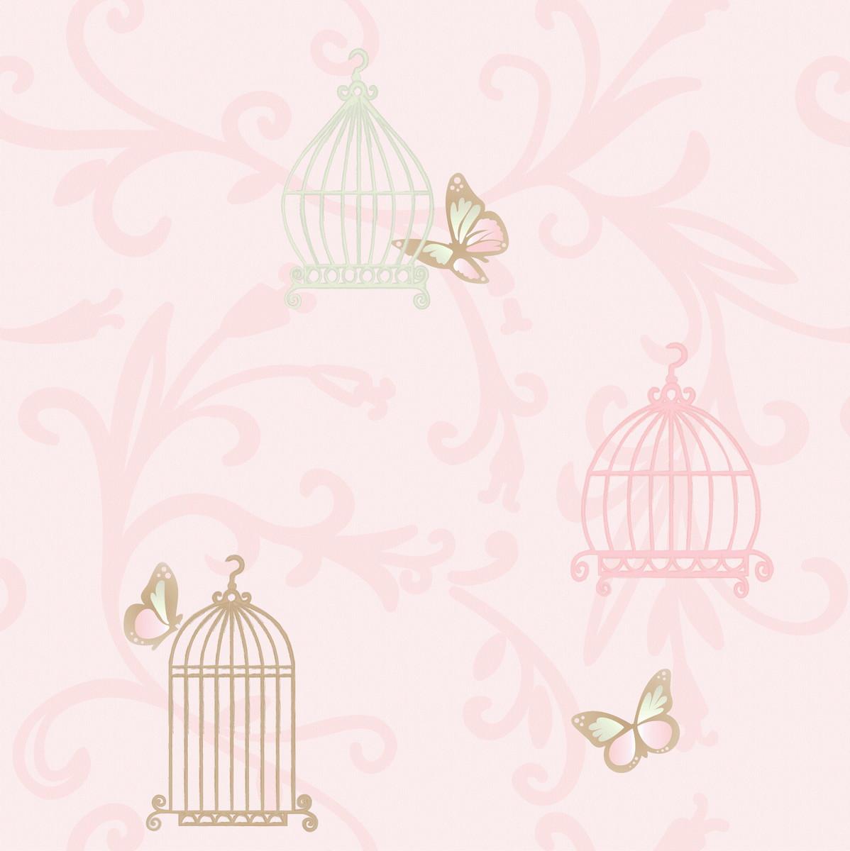 Papel de parede gaiolas rosa 1707 no elo7 wp decor 594e03 - Papel para paredes baratos ...