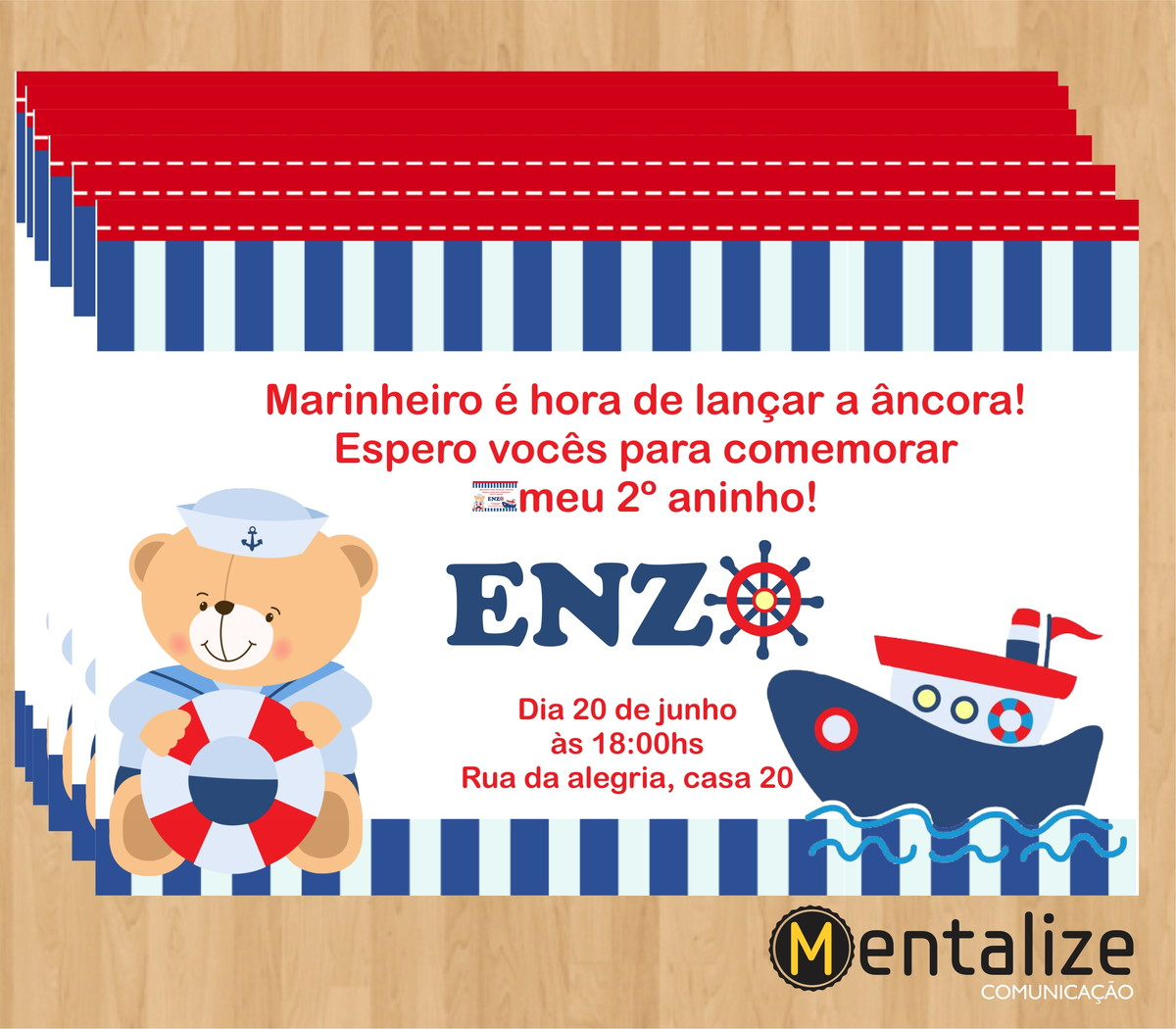 Amado Convite Ursinho Marinheiro no Elo7 | Ruany Bento (599FCB) MS78
