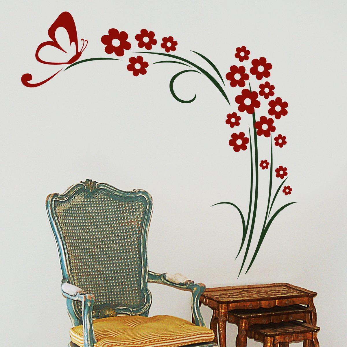 Adesivo Arranjo Flores E Borboleta No Elo7 Adesivos De Parede