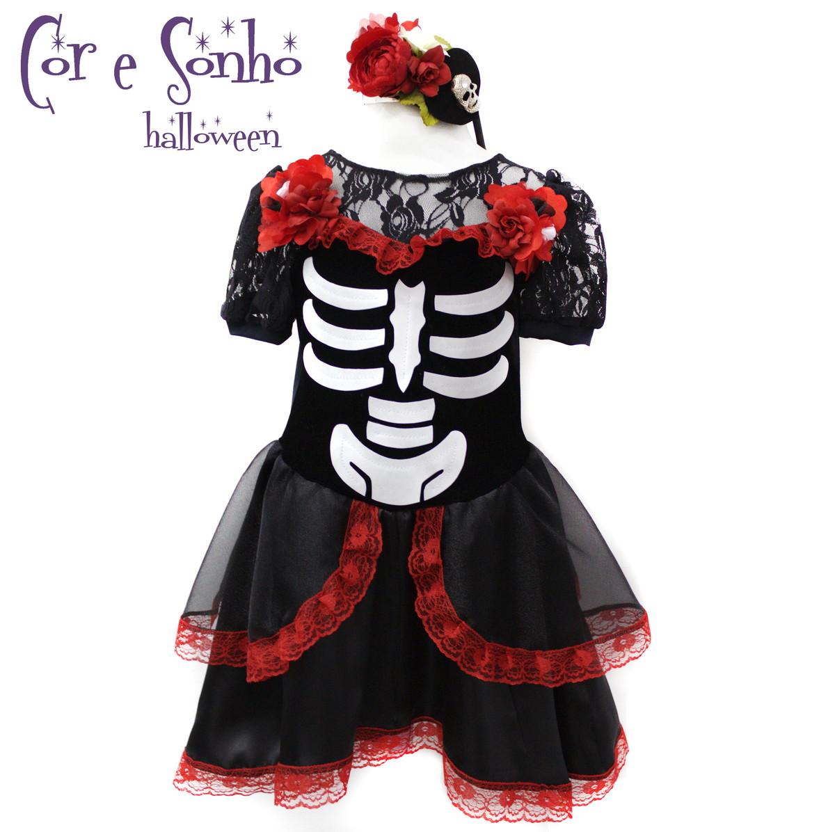 Artesanato Fantasia Halloween ~ Halloween Vestido Caveira Mexicana Luxo Cor& Sonho Elo7
