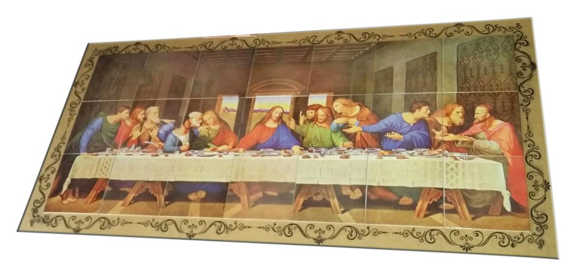 zoom santa ceia mosaico em azulejo