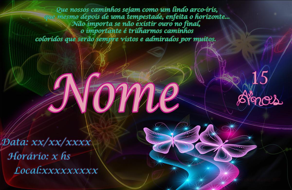 Convite Abstract Neon 15 Anos No Elo7 Pampyartes 5abf60